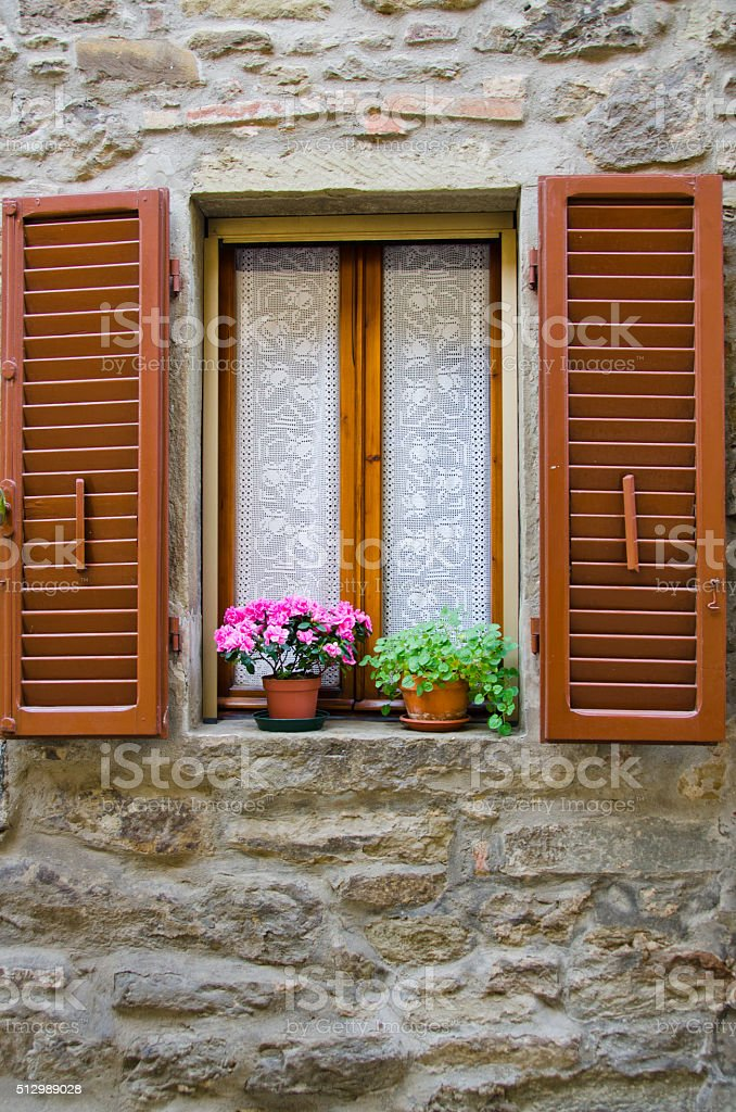 Window of Cortona, Italy stock photo
