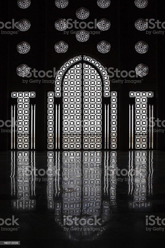 Window of Hassan II Mosque, Casablanca, Morocco royalty-free stock photo