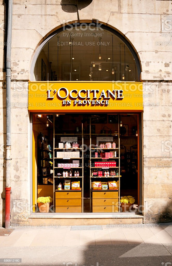 Window of L'occitane En Provence shop stock photo