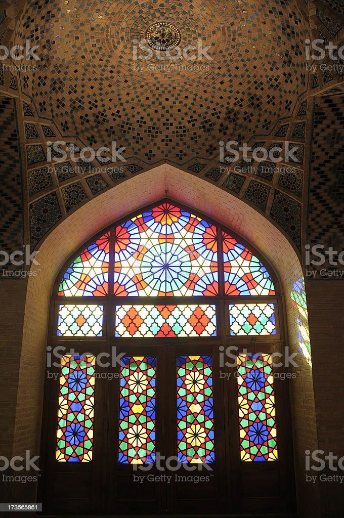 Window of Nasir al-Mulk Mosque, Shiraz, Iran stock photo