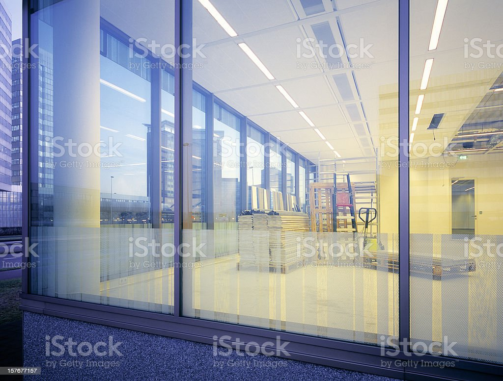 Window of newly built empty office space. stock photo