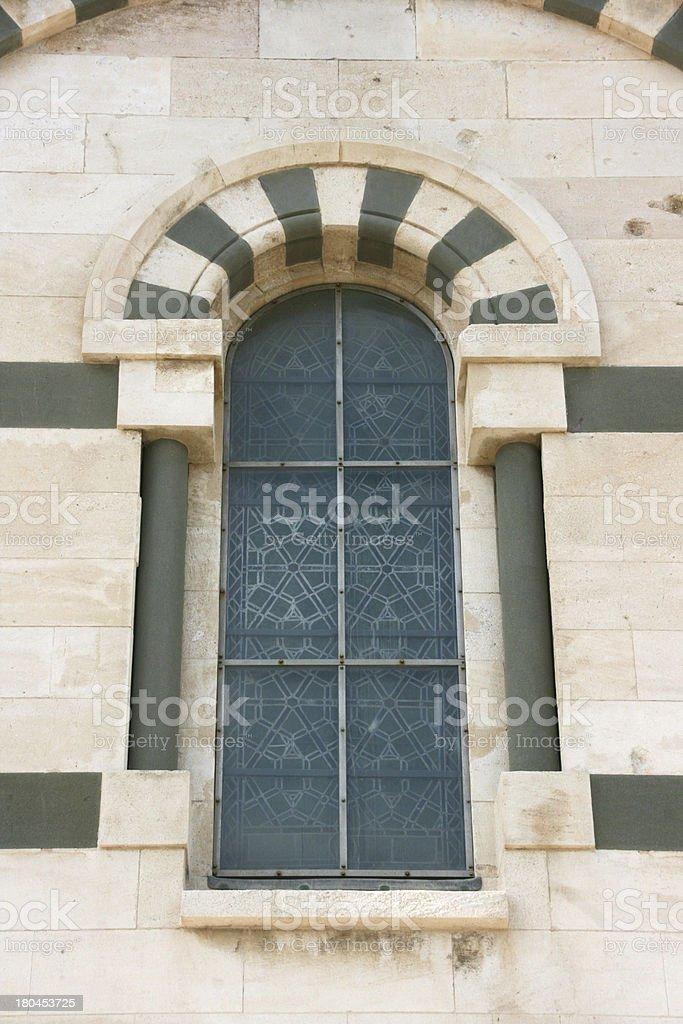 Window of Notre-Dame de la Garde basilica in Marseille, France. royalty-free stock photo