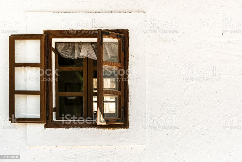 Window of old rural house stock photo