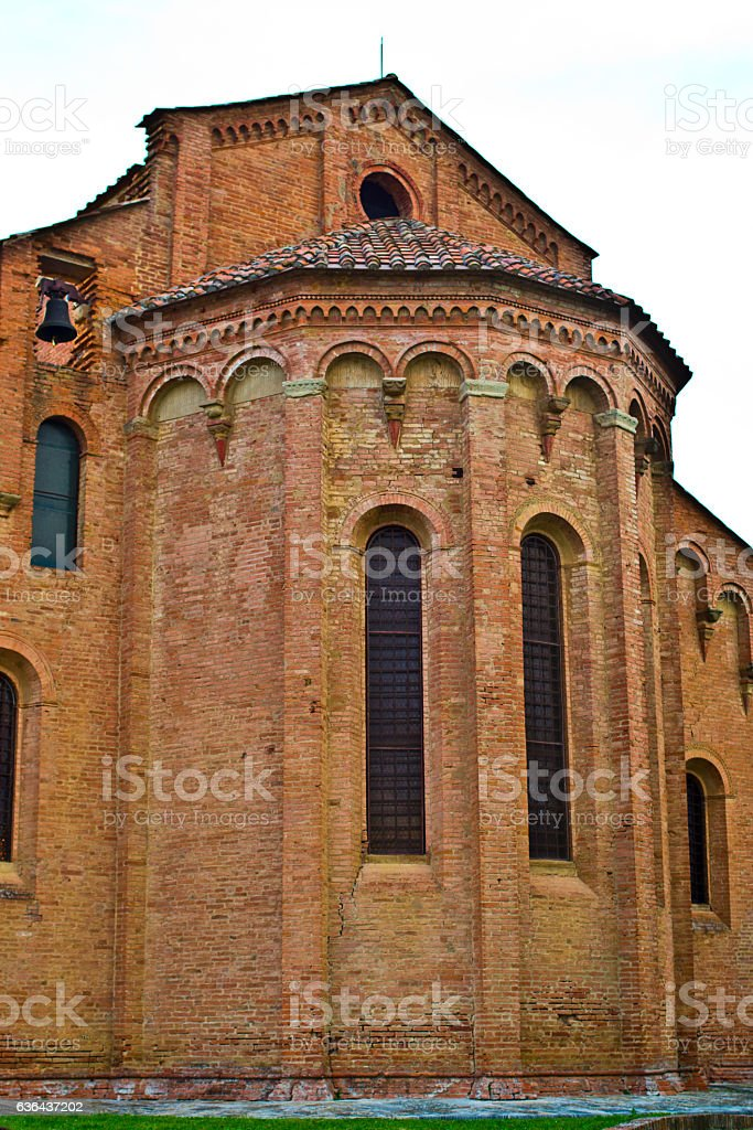 Window of Romanesque brick church stock photo
