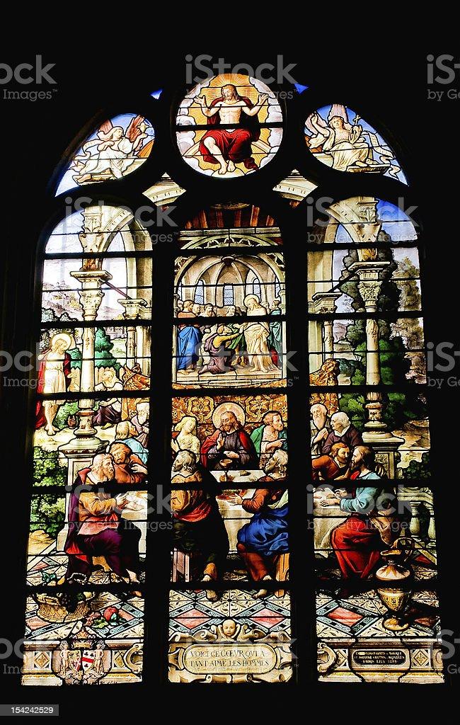 Window of Saint Etienne church in Paris 3 royalty-free stock photo