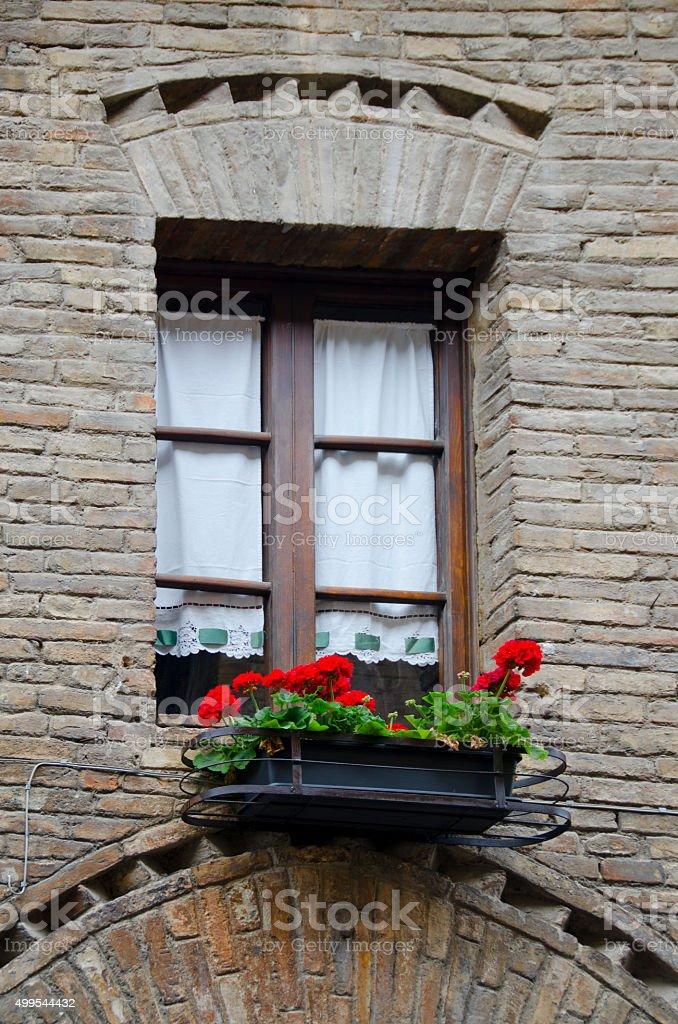 Window of San Gimignano, Italy stock photo