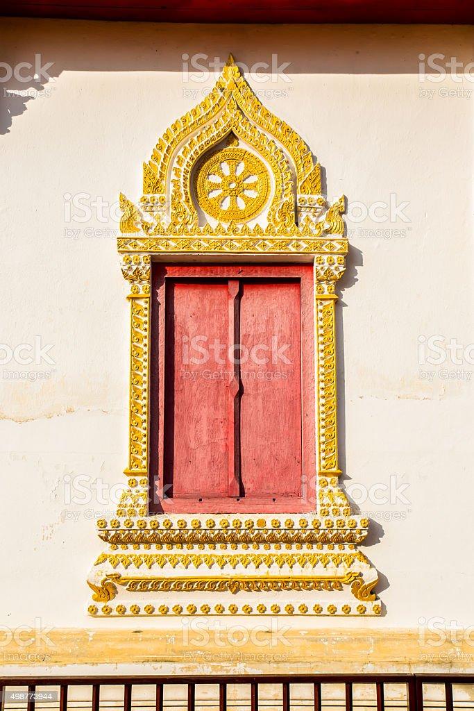 window of temple  in wat pratajhariphunchai lumphun Thailand stock photo