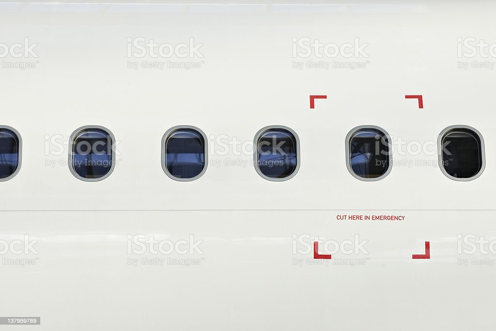 Window of the airplane stock photo