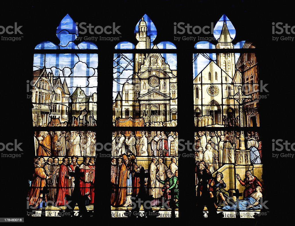 Window of the church Saint Etienne in Paris royalty-free stock photo