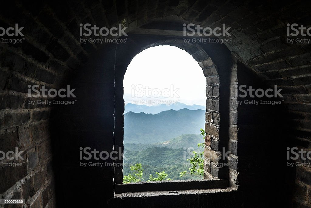 Ventana de la Gran Muralla China stock photo
