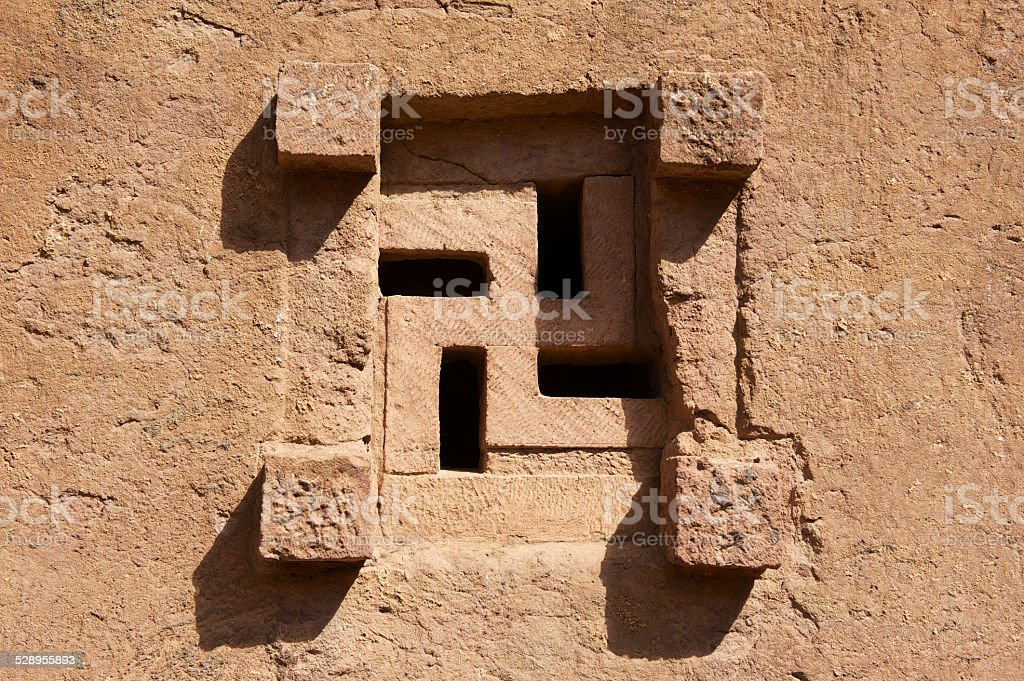 Window of the rock-hewn church in Lalibela, Ethiopia stock photo