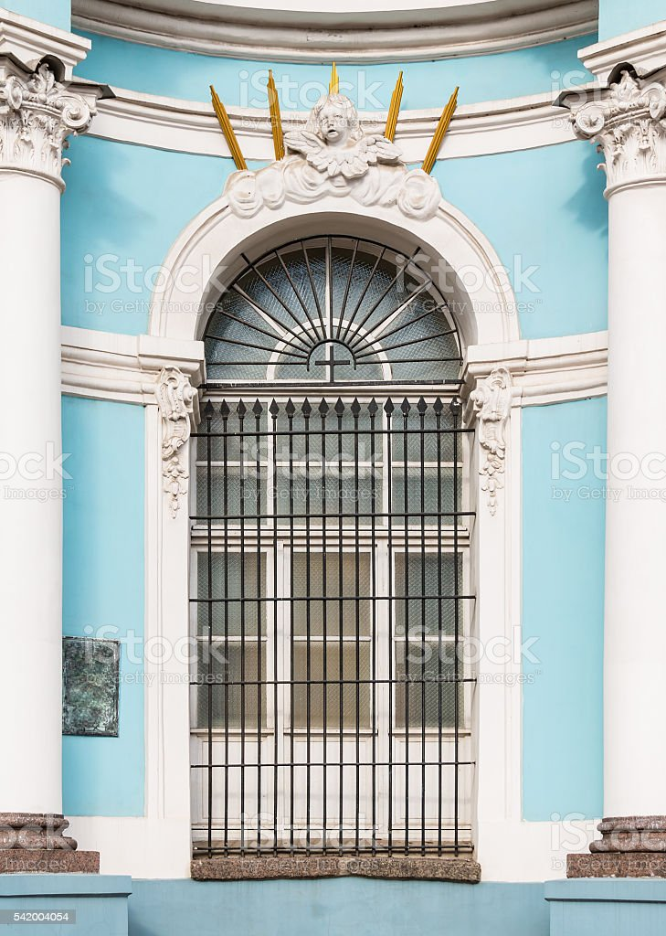 Window on belfry of St. Nicholas Naval Cathedral stock photo