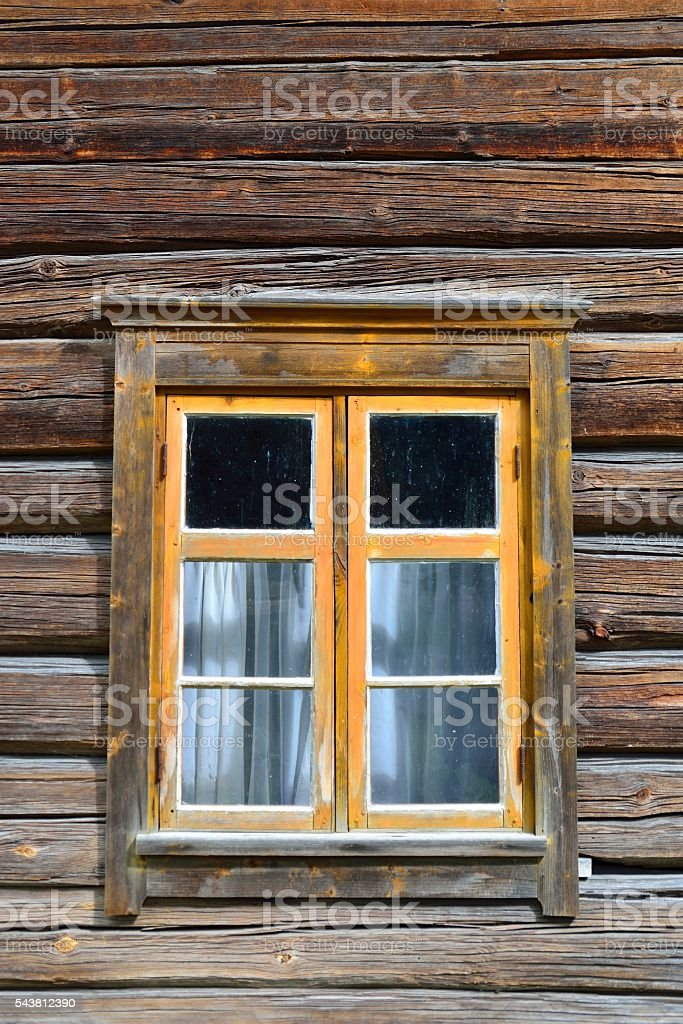 Window on log house stock photo