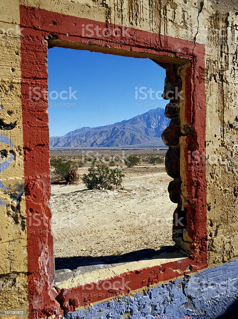 Window on old stone building royalty-free stock photo