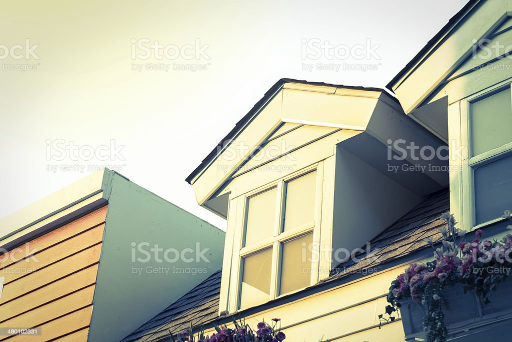Window on second floor of home,vintage style color. stock photo