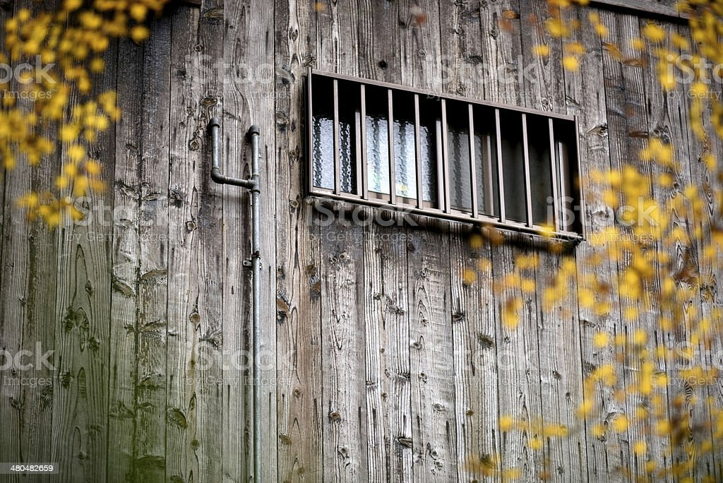 Window on wooden wall royalty-free stock photo