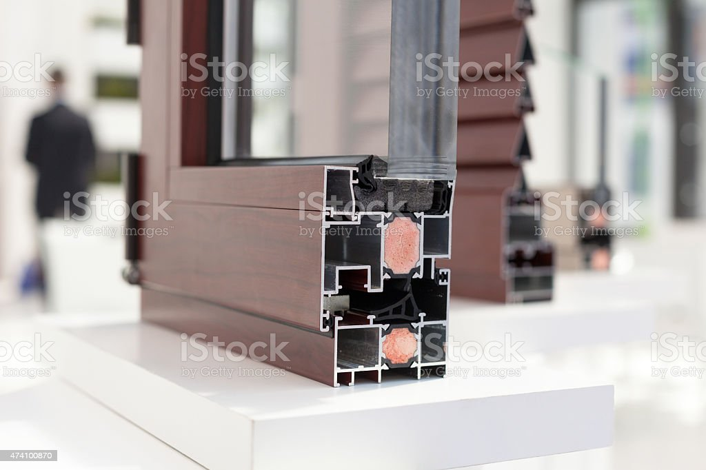 PVC window or door profile stock photo