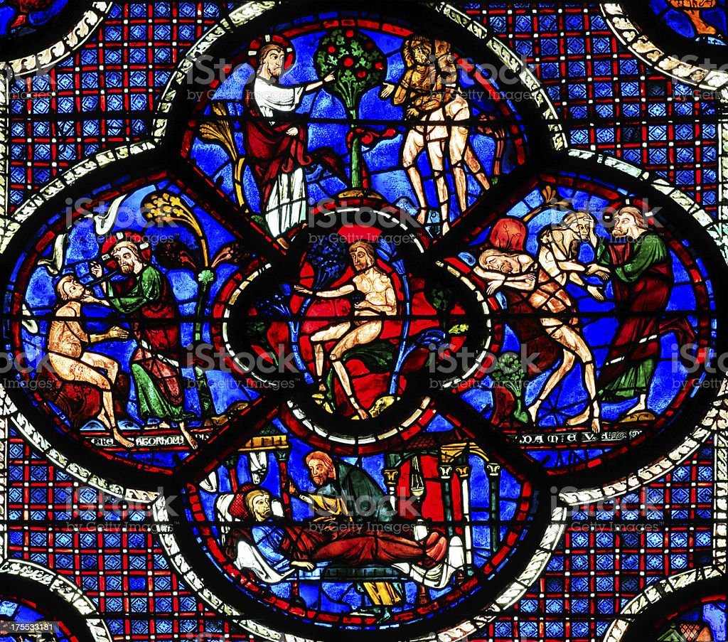 Window Parable of the Good Samaritan part 2, Notre-Dame, Chartres stock photo