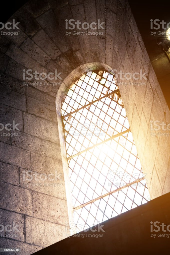 Window particular in a romanic church stock photo