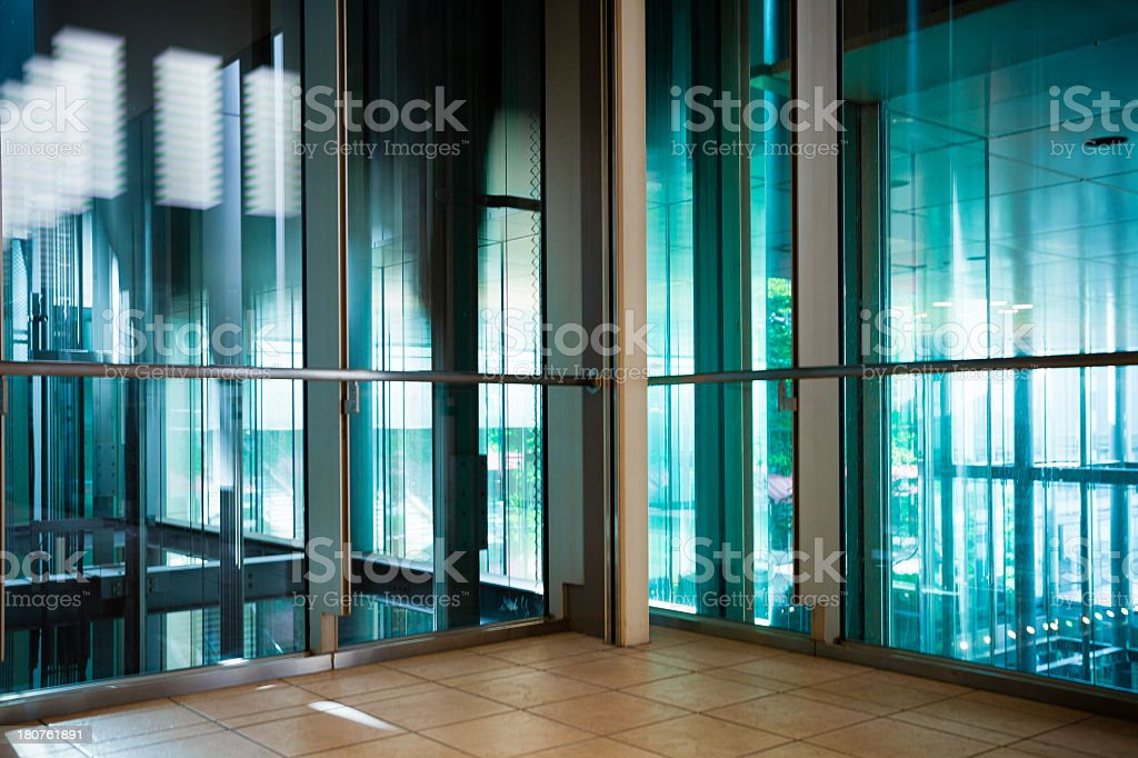 Window pillars and lined up regularly stock photo