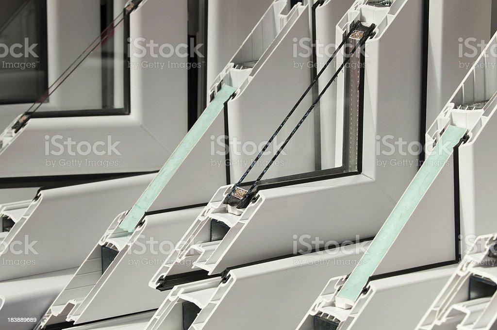PVC window profiles on display stock photo