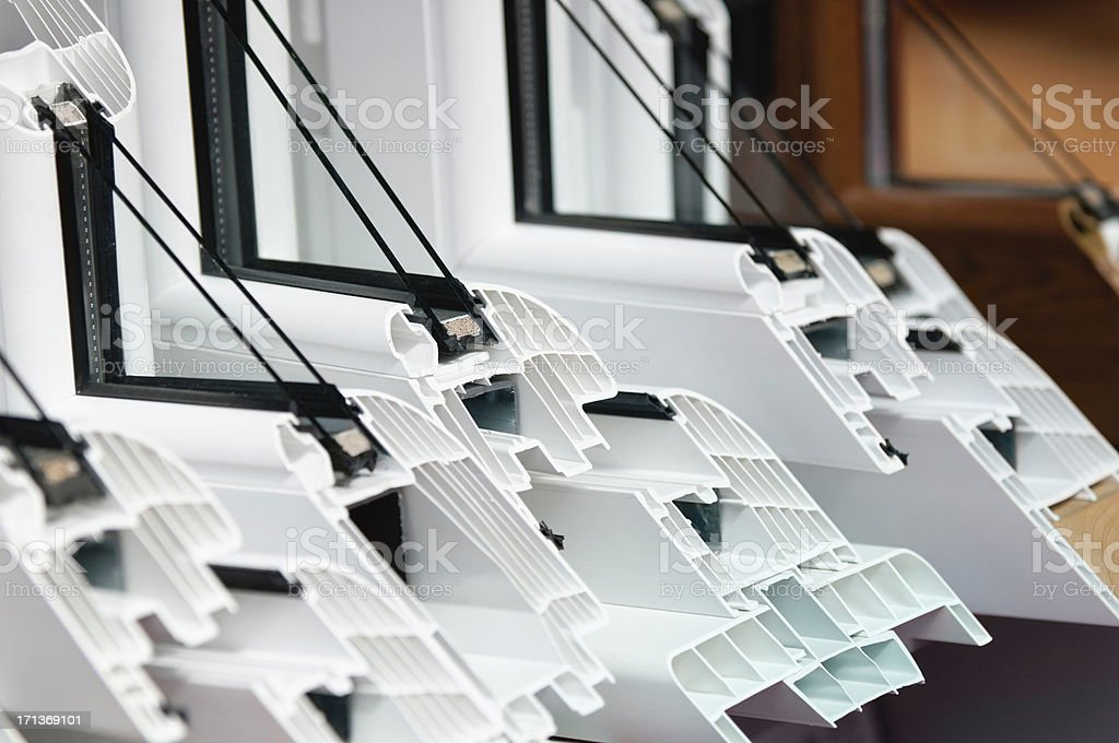 PVC window profiles stock photo