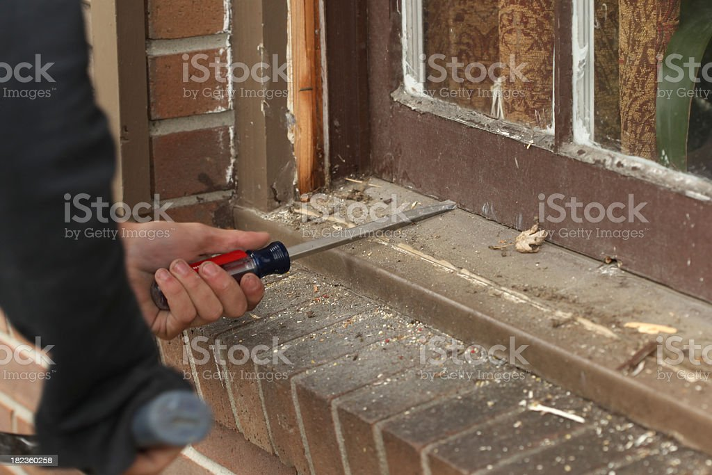 Window replacement with a tools and bricks royalty-free stock photo