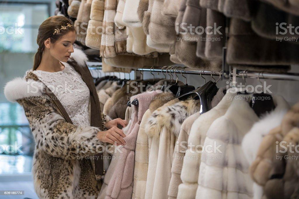 Window shopping at storefront stock photo