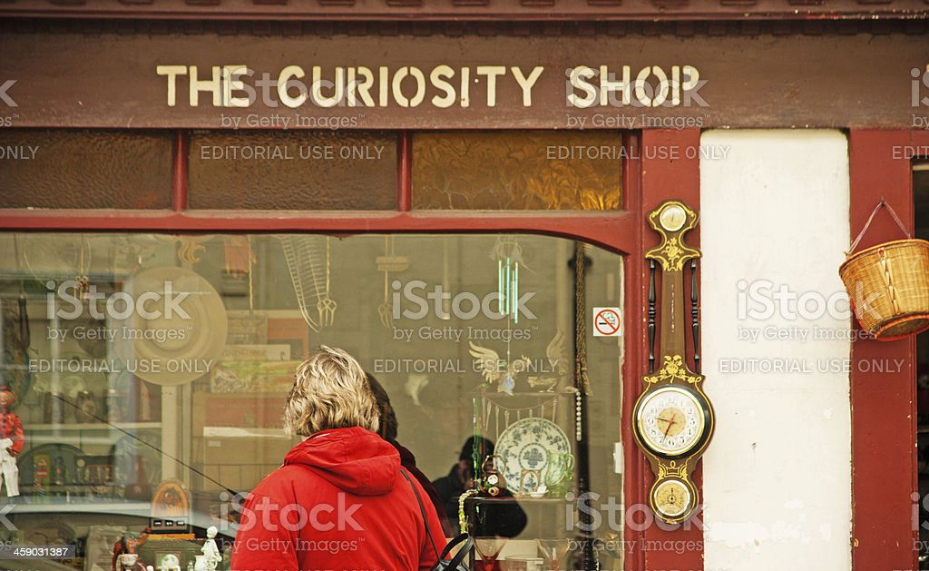 Window shopping High Street Huntingdon stock photo