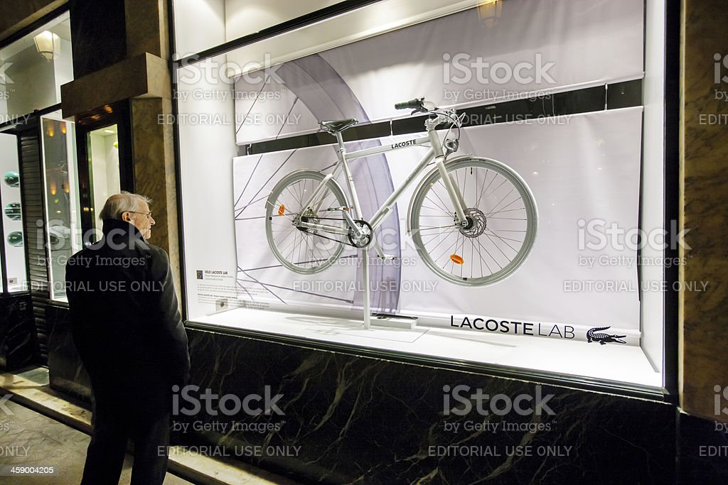 Window Shopping in Christmas Paris, Lacoste stock photo