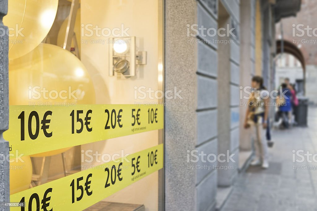 Window shopping in Monza, Italy stock photo