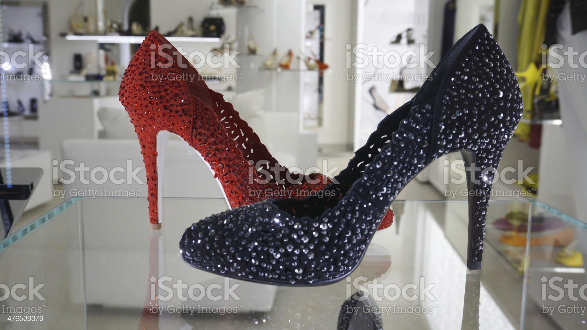 Window shopping luxury fashion shoes royalty-free stock photo