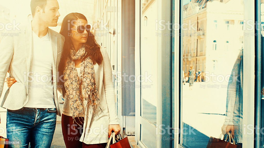 Window shopping. stock photo