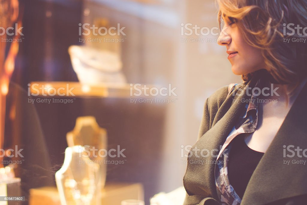 Window shopping stock photo