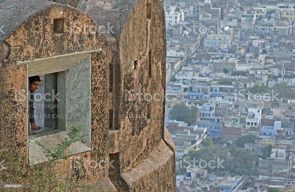 Window showing city of Jaipur stock photo