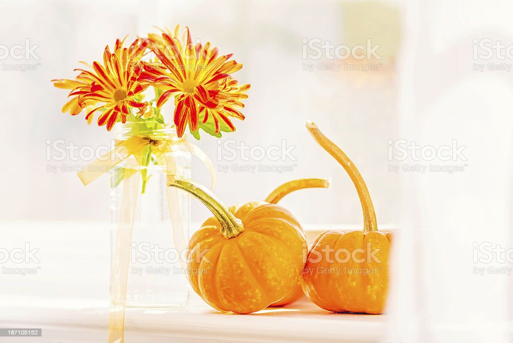 Window Sill Simply Decorated for Thanksgiving stock photo