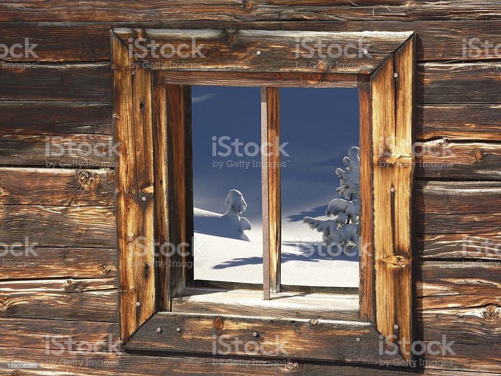 Window snow and Christmas tree stock photo