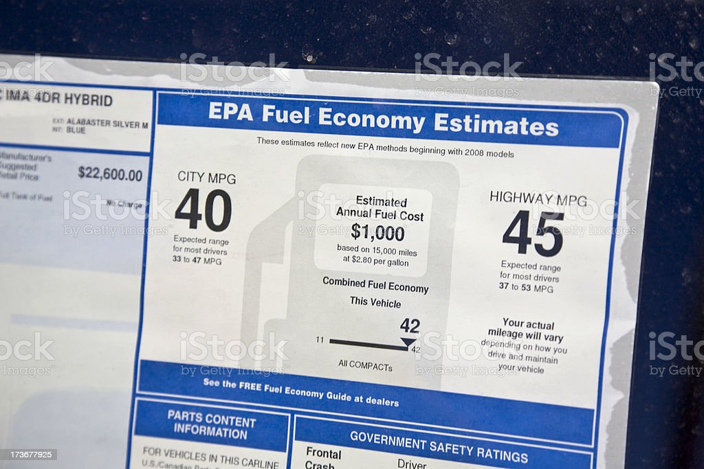 EPA window sticker for new fuel-efficient hybrid car stock photo