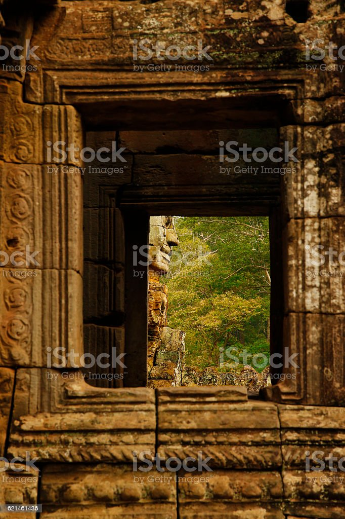 Window to Buddha's Face stock photo