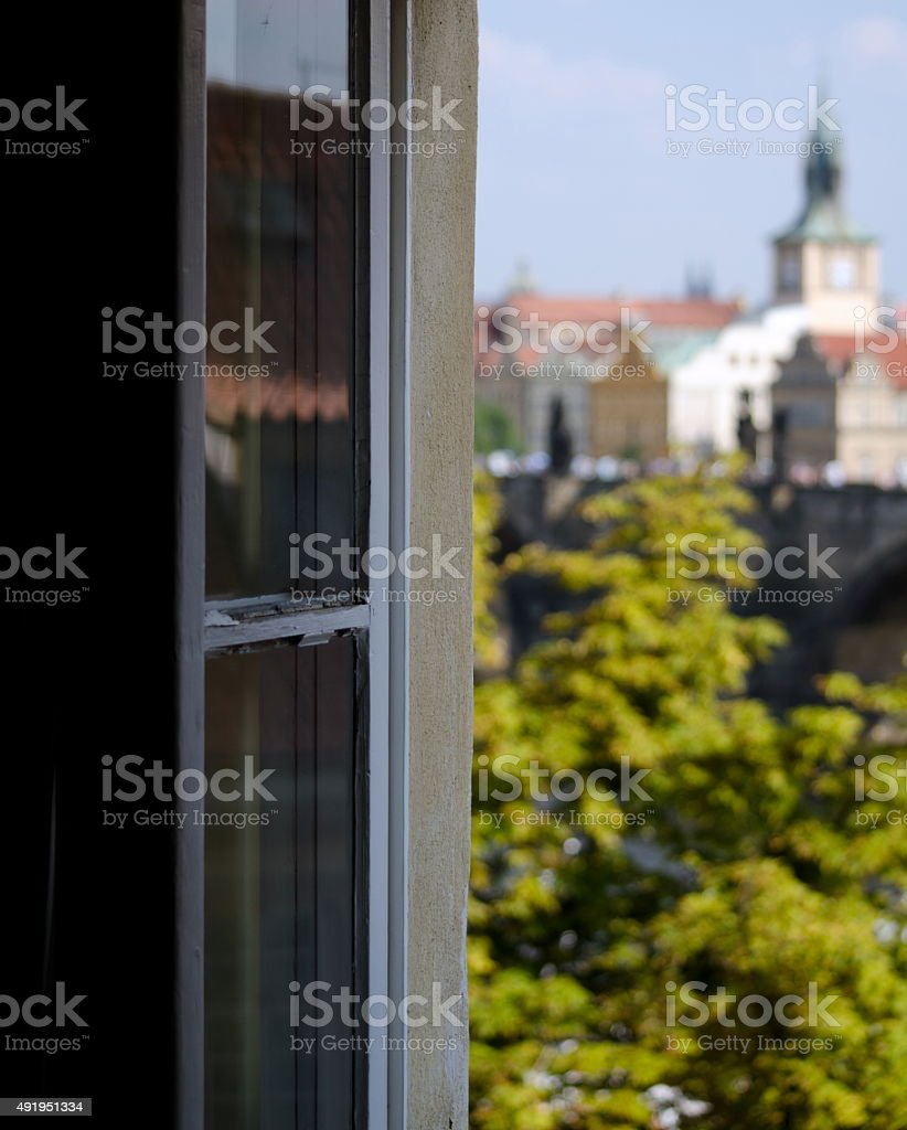 Window to Charles Bridge stock photo