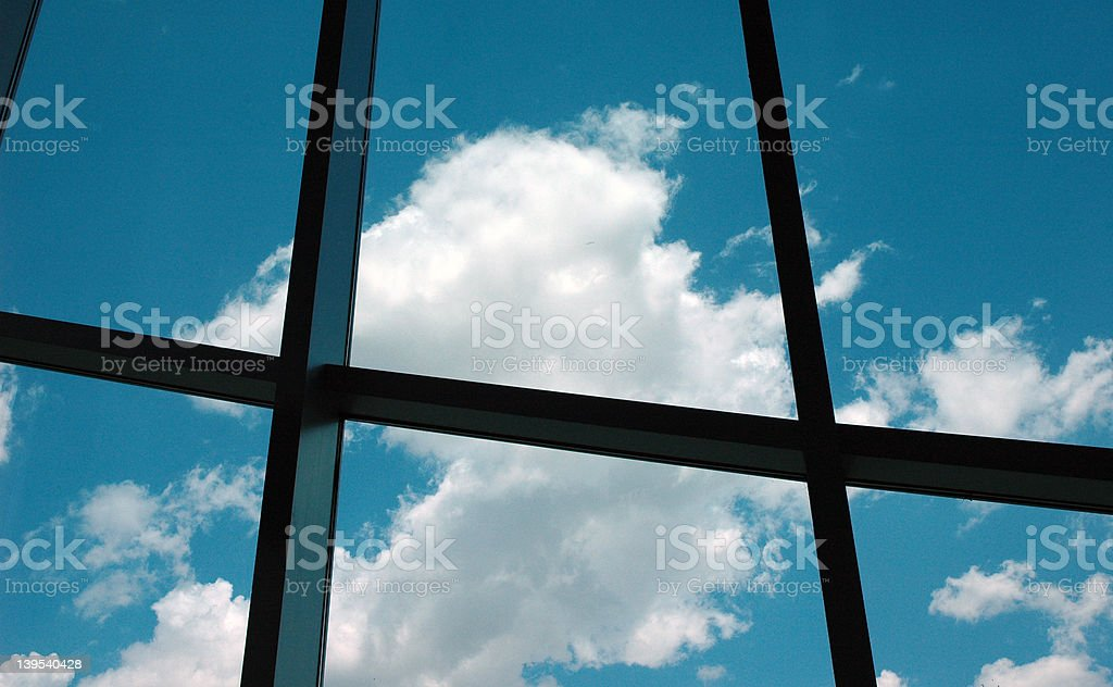 Window to the cloudy blue sky royalty-free stock photo