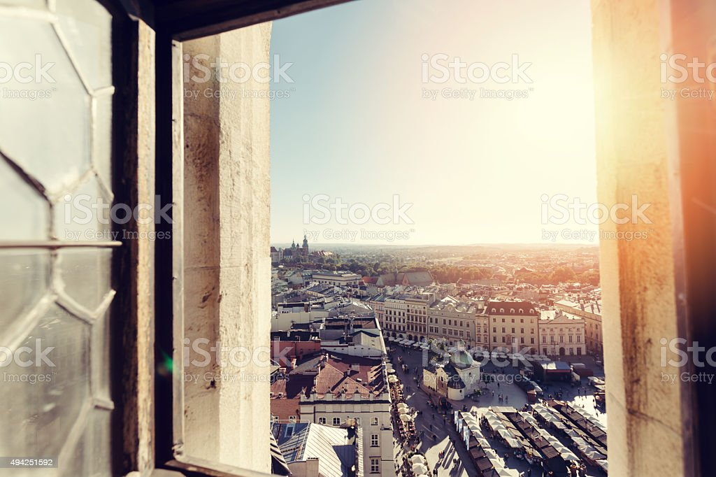Window view of Krakow stock photo