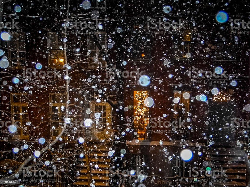 NYC Window View of Snowfall stock photo