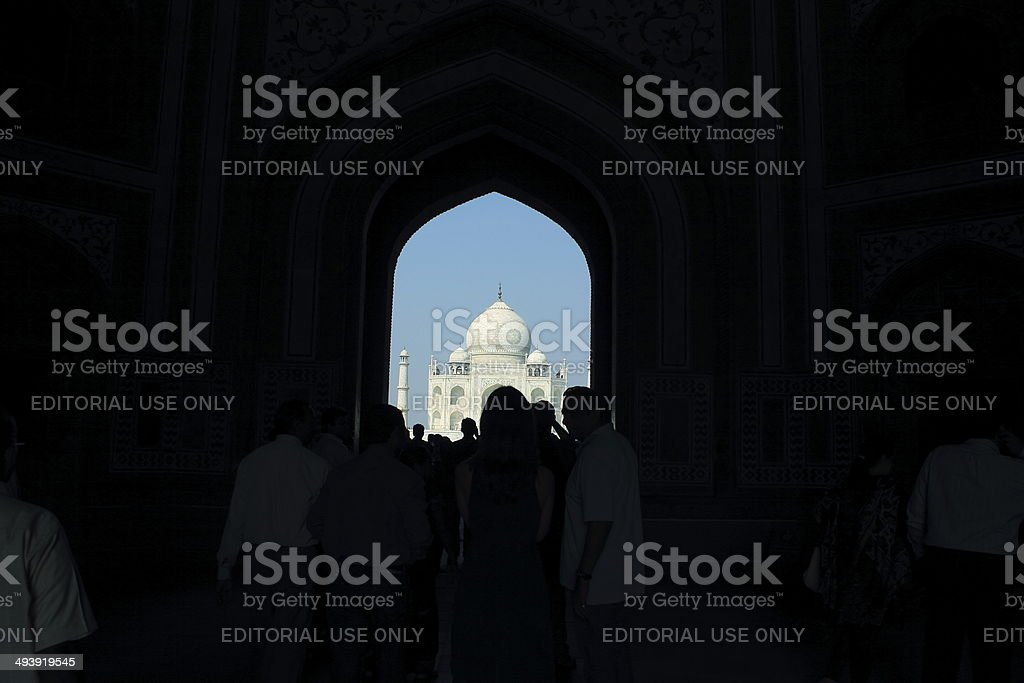 Window view of Taj Mahal stock photo
