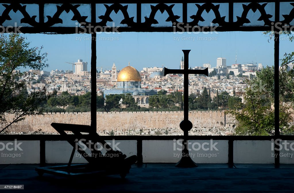 Window view of the city of Jerusalem stock photo