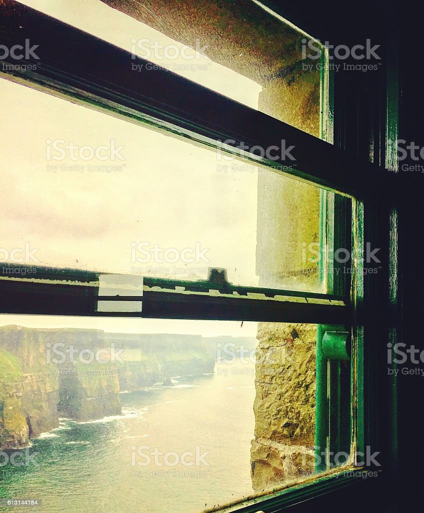 Window view of the Cliffs of Moher in Ireland stock photo