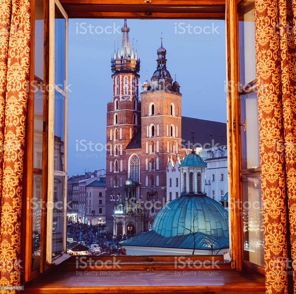 Window view of the Main market square stock photo
