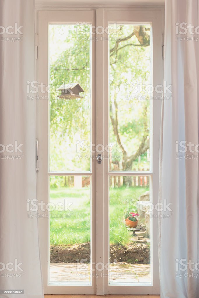 window view to garden stock photo