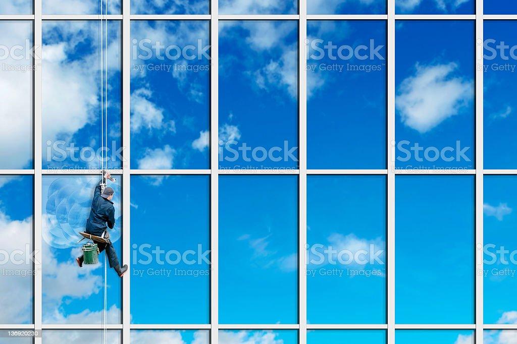 XXL window washer stock photo