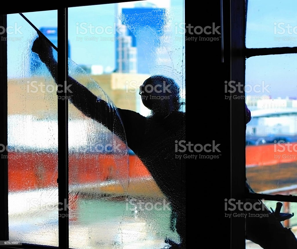 Window Washer Silhouette stock photo